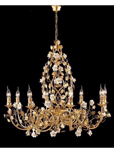 lade da tavolo classiche ceramica ladario classico in ferro battuto oro e porcellana ls 139 8