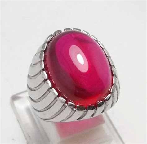 Batu Akik Merah Siam Ring Rodium batu cincin merah siam original bangkok