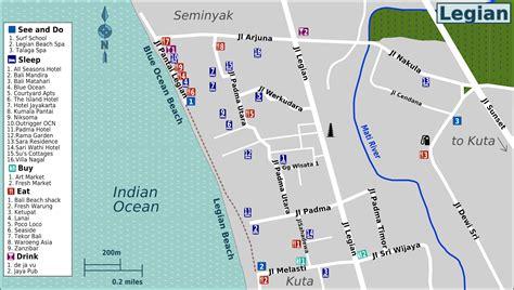 jalan legian kuta bali location map  travelers bali