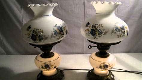 vintage floral hurricane l vintage pair of glass gone with the wind hurricane lamps w