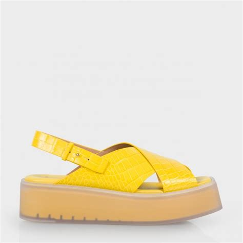 yellow sandals lyst paul smith s yellow mock croc leather