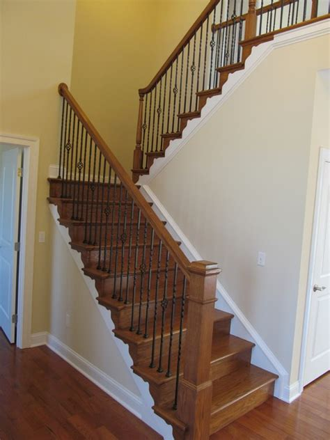 Foyer U Shaped Staircase With Craftsman Newel Post