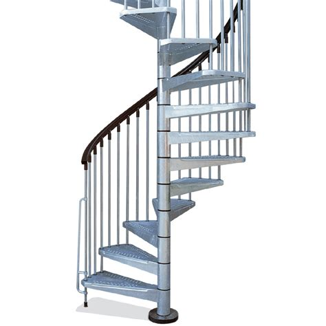 shop arke enduro 63 in x 10 ft gray spiral staircase kit at lowes com