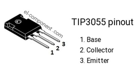 Tip2955 Tip 2955 Tip3055 Tip 3055 tip3055 n p n transistor complementary pnp replacement pinout pin configuration substitute