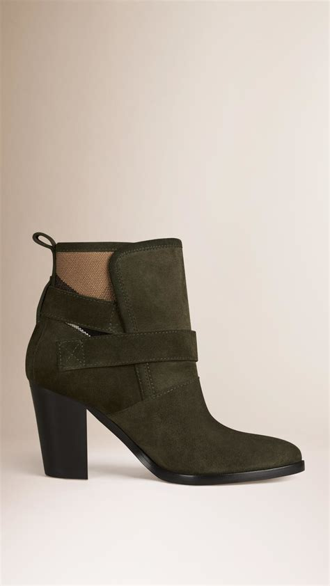 burberry boots for burberry house check and suede ankle boots in green lyst