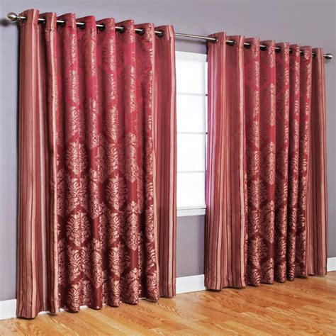 Wide Curtains Wide Width Damask Jacquard Grommet Curtain Pair Burgundy