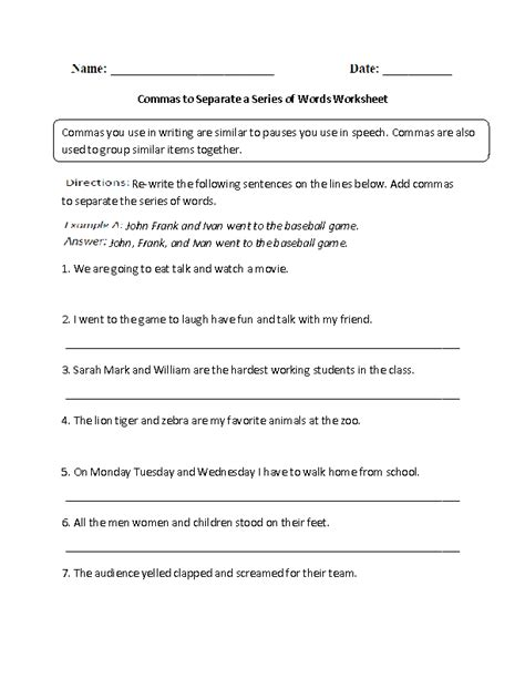 Commas In A Series Worksheets by Englishlinx Commas Worksheets