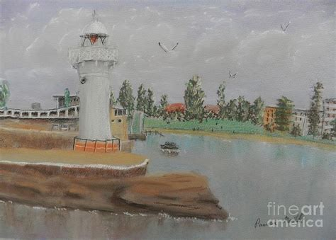 small lighthouse at wollongong harbour painting by pamela