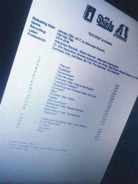 eminem revival tracklist possible tracklist to eminems new album probably fake