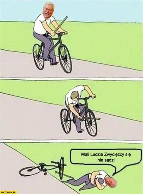 prot鑒e si鑒e voiture lech wałęsa jedzie na rowerze mali ludzie zwycięzcy się