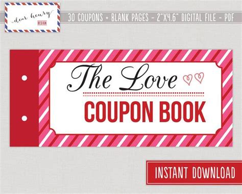 printable valentines day gift love coupons