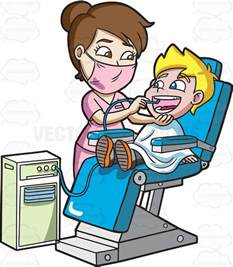 Dentist Clipart a happy boy getting his teeth cleaned at the dentist