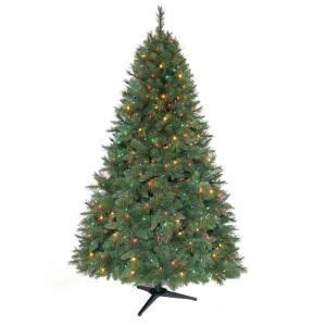 home depot alexandria pine tree home accents 6 5 ft pre lit artificial aster pine tree with multicolor lights