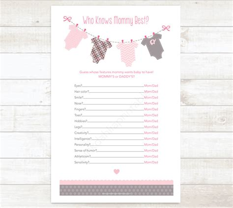 Free Printable Baby Shower Who Knows The Best by Inspiring Who Knows Best Baby Shower Free Printable 56 About Remodel