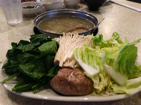 shabu house milpitas size of veggies that come w the large order chicken ginger broth in the background