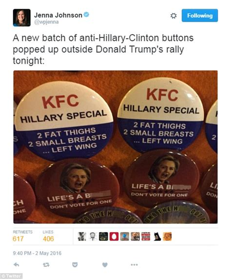 Kfc Clinton Ad Board by Anti Clinton Buttons Found At Donald Rally