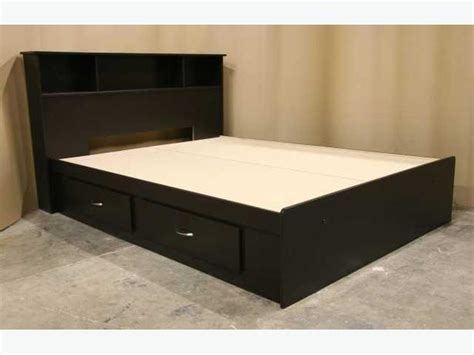 used full size bed espresso brown twin size single captains bed frame with