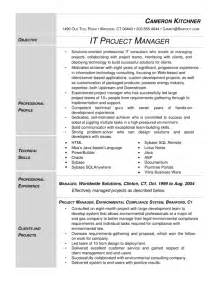 it project manager resume template senior project manager resume template ebook database