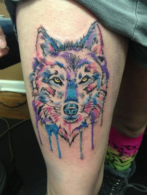 watercolor tattoo images wolf watercolor on thigh leg for