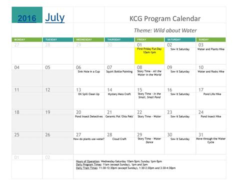 Calendar Program July 2016 Program Calendar Lexfun4kids