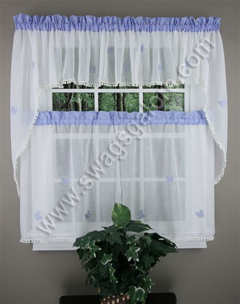 butterfly gingham curtains blue lorraine tiers swags
