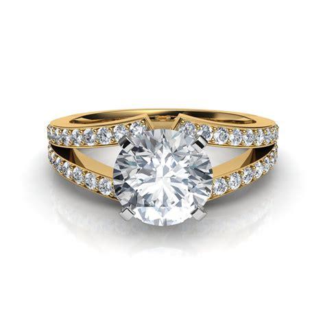 split shank brilliant cut engagement ring