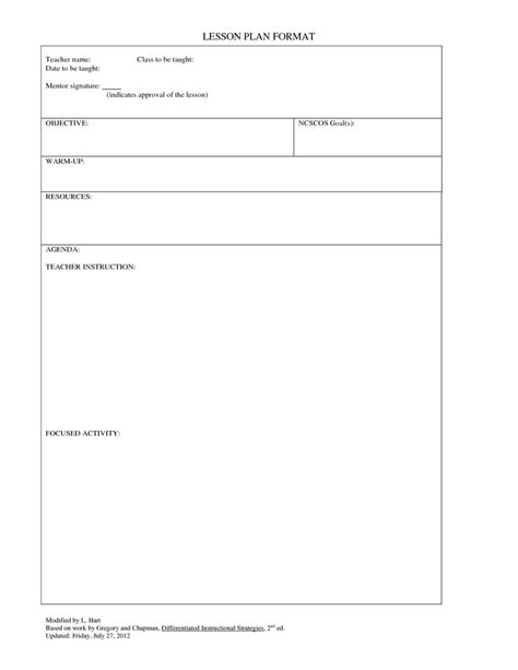 printable lesson plan template for teachers blank lesson blank white gold