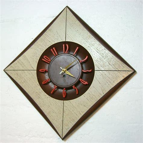 swanky mid century modern wall clock diamond shaped
