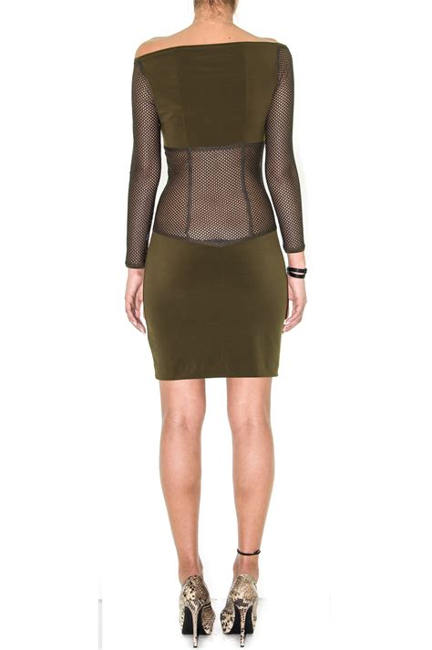 R Stevannie Dress stretch jersey dress in army dress in mesh renoma dress