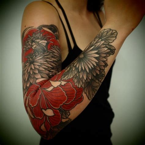 tattoo black and grey and red red and grey flower tattoos on right sleeve