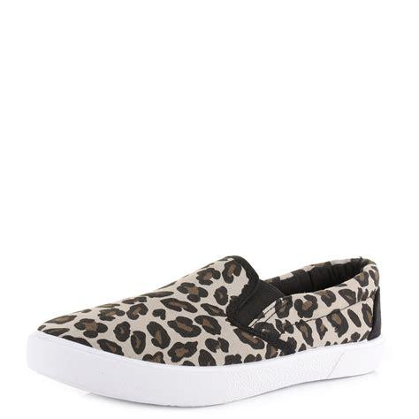 womens leopard print slip on canvas plimsolls trainers shoes size ebay