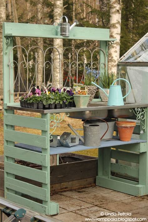 potting table with sink diy garden potting table pallets sink romppala