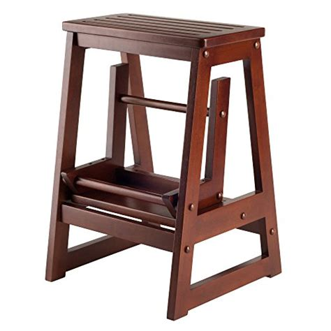 Antique Wooden Step Stool by Winsome Wood Step Stool Antique Walnut New Ebay