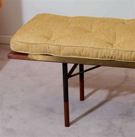 long cushioned bench mid century danish modern long bench gold tone cushion at