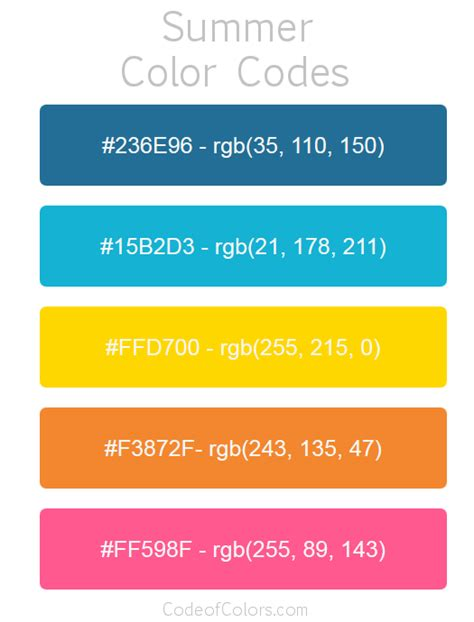 summer colors summer color palette hex and rgb color codes