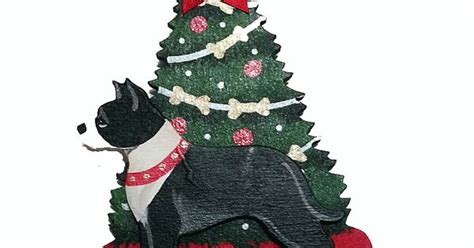 the christmas tree dog wood 3 d hand painted ornament