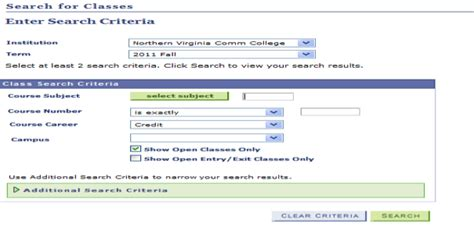 section number of a course search for class northern virginia community college