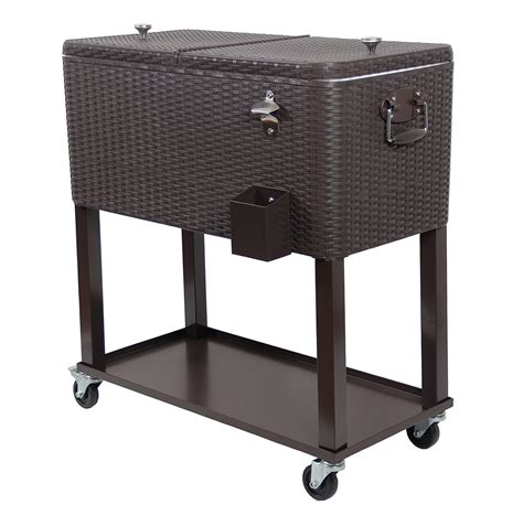 Rolling Patio Cooler Cart by Upha 80 Quart Rolling Cooler Cart Outdoor Patio