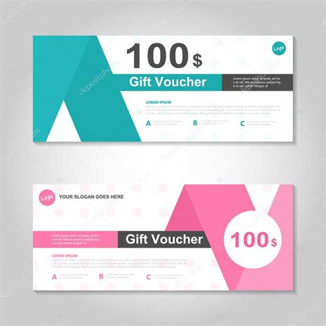 pink and green gift voucher template layout design set