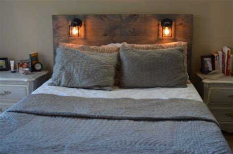 Headboard With Lights Wood Rustic Headboard With Black Built In Lighting Cordoba Jars On The Side And Rustic Headboards