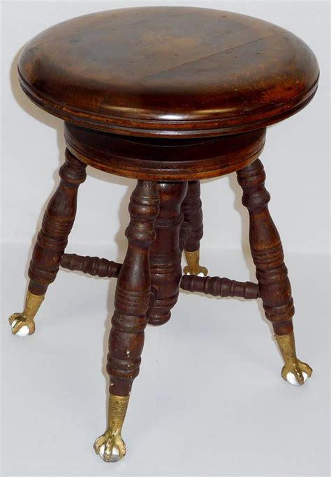Walnut Piano Stool by Antique Charles Co Walnut Piano Stool W Claw Glas