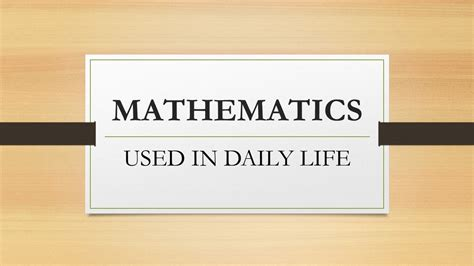 essay on using math in everyday lif