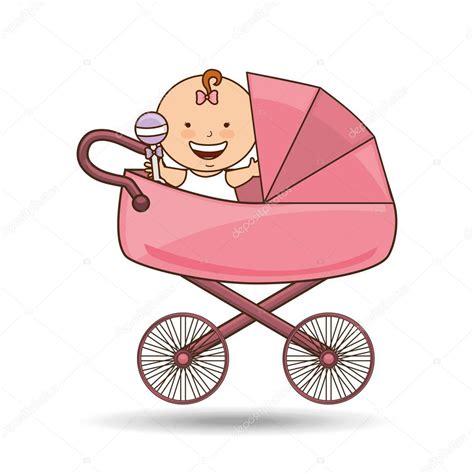 clipart da scaricare carrozzina neonato rosa design vettoriali stock