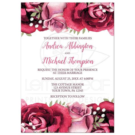Pink Invitations Wedding by Wedding Invitations Burgundy Pink White Rustic