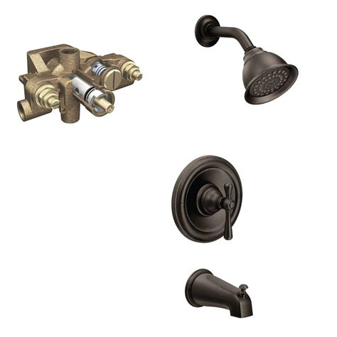 Bathroom Shower Valve Moen Kingsley Single Handle 1 Spray Tub And Shower Faucet Trim Kit With Valve In Rubbed