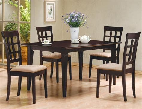 Dinette Sets Cappuccino Finish 5pc Modern Dinette Set W Microfiber Seats