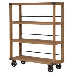 Wood For Bookshelves by Manhattan Wood Amp Iron Shelving Unit On Wheels