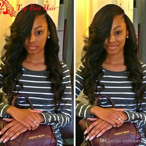16 inch weave with chinese bangs side part full lace black wigs with bangs black women wigs