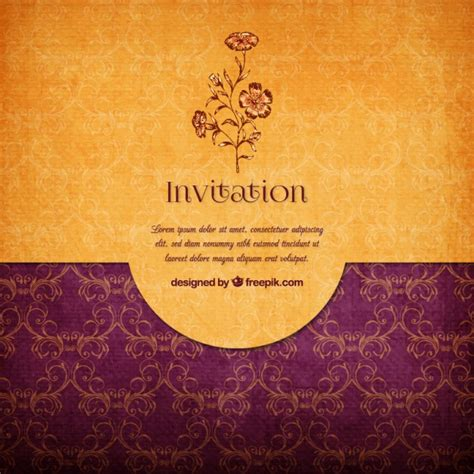 Wedding Background Design Yellow by Floral Invitation Vector Free