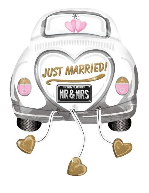 Just Married Auto Bilder by Folienballon Just Married Auto 79 Cm